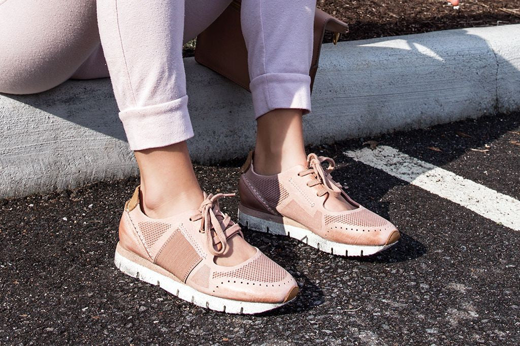 Blush pink is the new on-trend color of the season! Embrace this stylish shade in the Star Dust sneakers by OTBT.