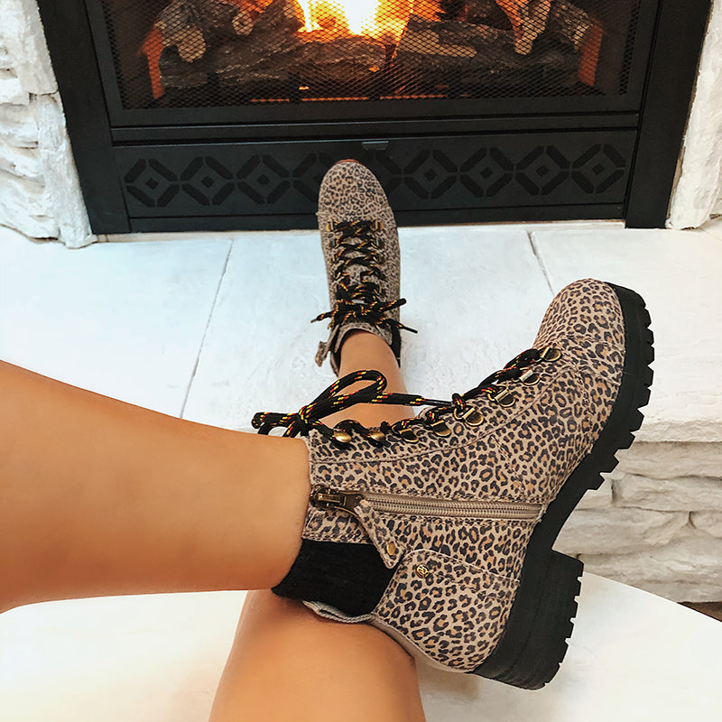 animal print cold weather boots