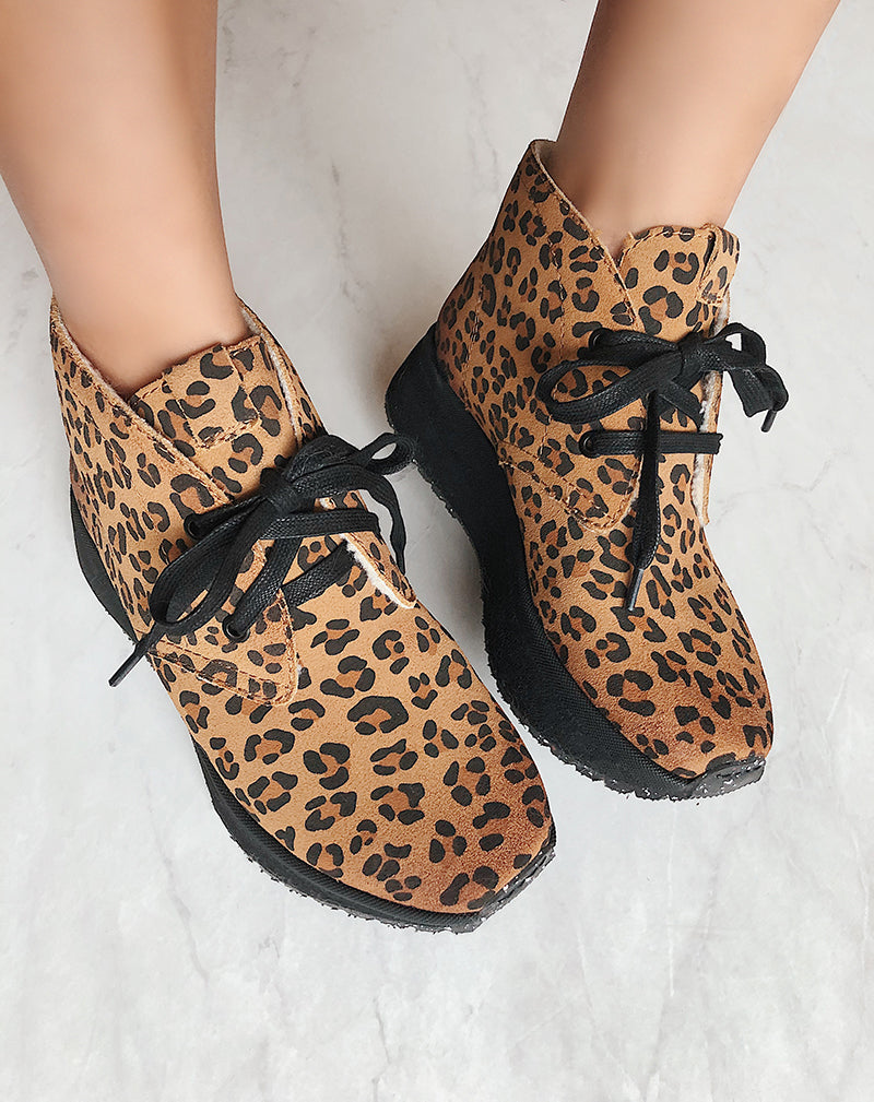leopard print cold weather boots