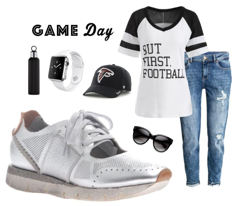 Ready for SuperBowl weekend? Check out this sporty chic game day look featuring the Star Dust sneakers from OTBT Shoes.