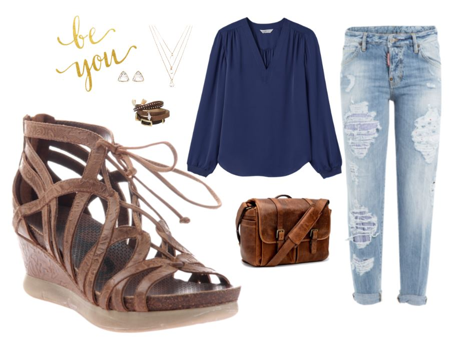 Check out these great looks featuring these comfortable women's wedge sandals from OTBT - the Nomadic.
