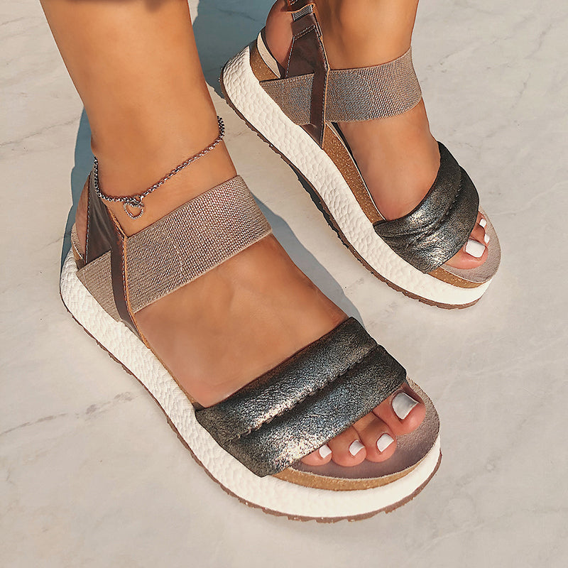 silver sporty sandals for women comfortable for walking