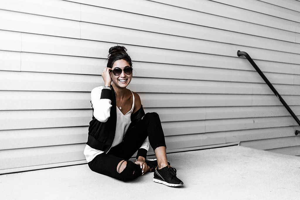 Day In My Dreams blogger Kristina Petrick shows off her athleisure-inspired look with OTBT Shoes.