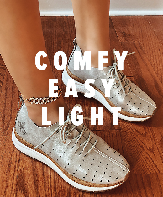 comfy easy lightweight sneakers in silver