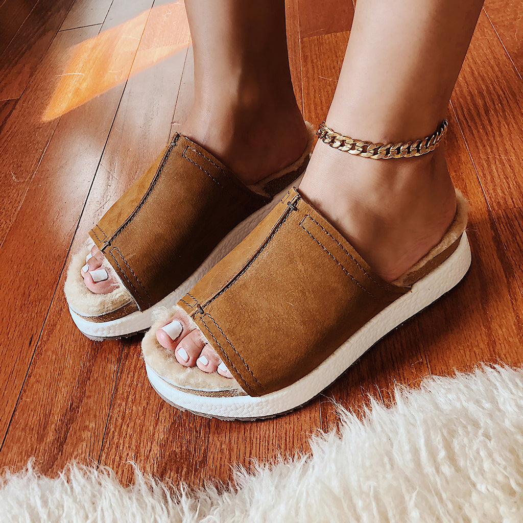 shearling sandals