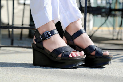 f2a3b762381 otbt bee cave platform wedge in black wearing 2