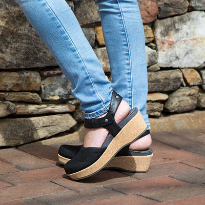 comfortable shoes for women elizabeth wedges in black closeup