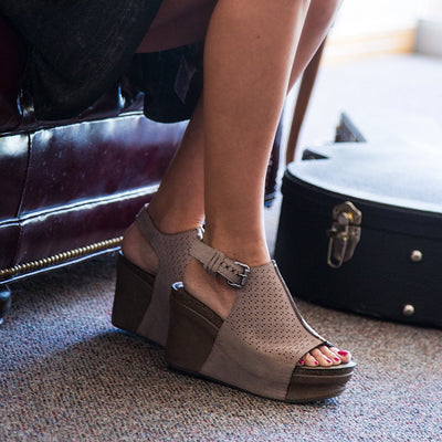 womens platform wedges jaunt in grey pownder jordan closeup