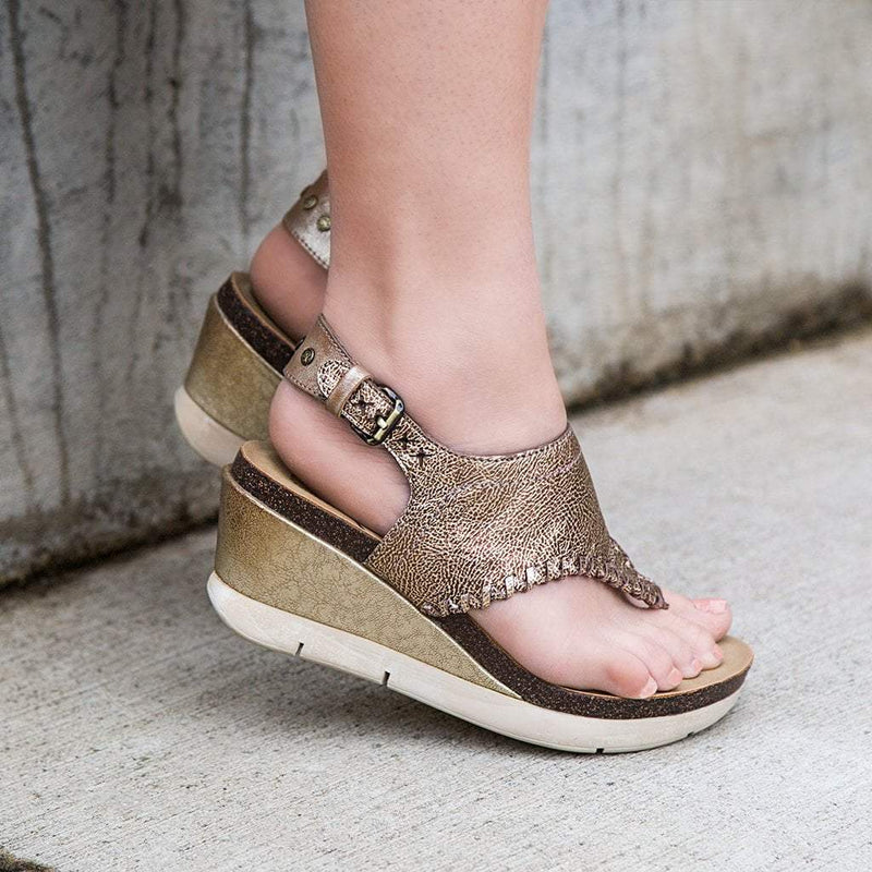 a8d39024558db0 Meditate in Gold Wedge Sandals
