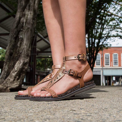 Womens sandal stargaze in copper close up