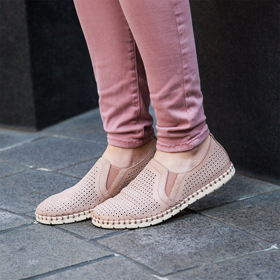 flat shoes for women perforated leather universe in blush closeup