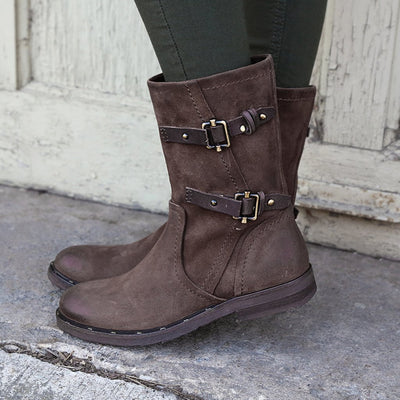 Womens mid shaft boot causeway in dark brown