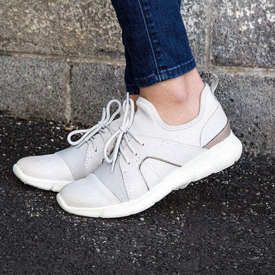 Womens sneaker transfer in dove grey close up