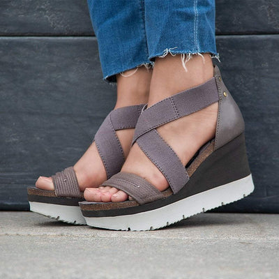 HALF MOON in CINDER Wedge Sandals