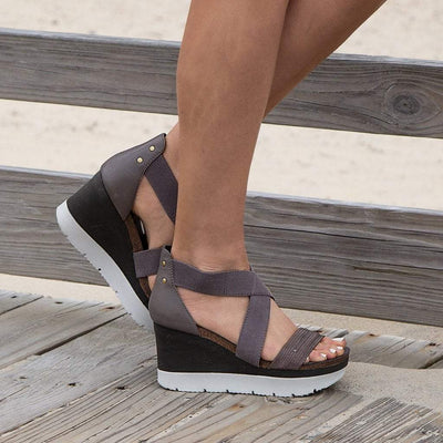 Womens wedge half moon in cinder closeup