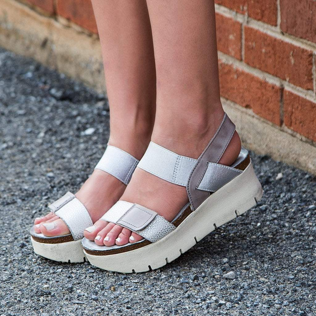 5d198b59c7 Nova in New Silver Wedge Sandals | Women's Shoes by OTBT