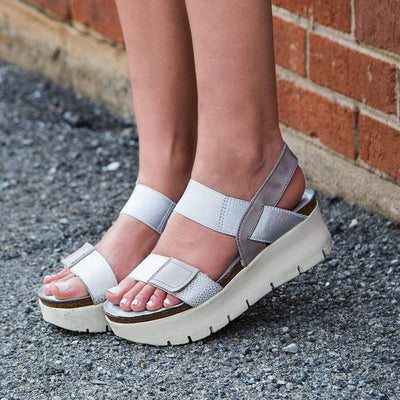 Womens wedge sandals nova in new silver close up