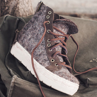 otbt wedge sneakers for women gower in fuzzy brown closeup