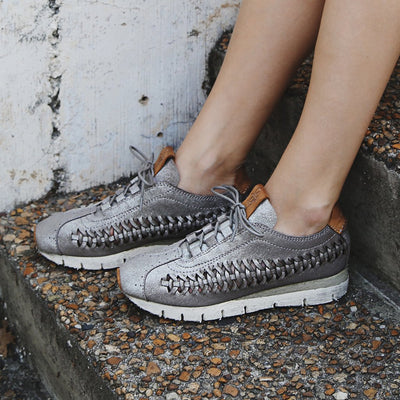 womens fashion sneaker nebula in grey silver closeup
