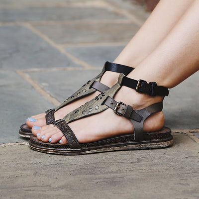 otbt womens summer sandals stargaze in khaki closeup