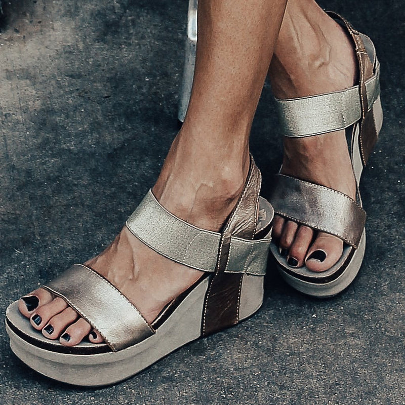 BUSHNELL in GOLD Wedge Sandals