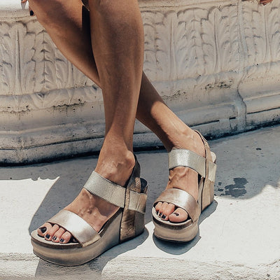 womens platform wedges bushnell in gold blogger summer