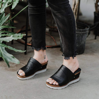 EARTHSHINE in BLACK Wedge Sandals