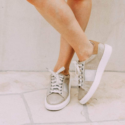 Womens sneakers normcore in mid taupe close up