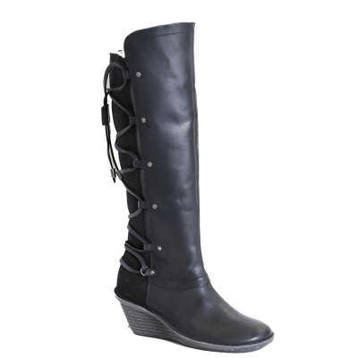 OTBT, Abroad, Black, Tall fleece lined boot with leather criss crossing on the back