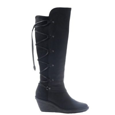 OTBT, Abroad, Black, Tall fleece lined boot with leather criss crossing on the bac