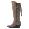 OTBT, Abroad, Pecan, Tall fleece lined boot with leather criss crossing on the back