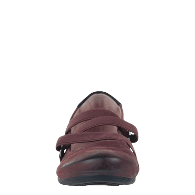 Womens flat Anora in eggplant front view
