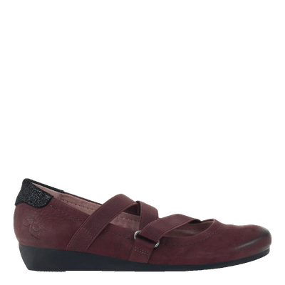 Womens flat Anora in eggplant side view