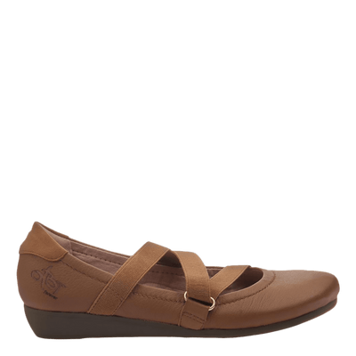 Womens ballet flat anora in butterscotch side view