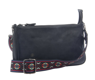 womens leather crossbody bag tulum in black side