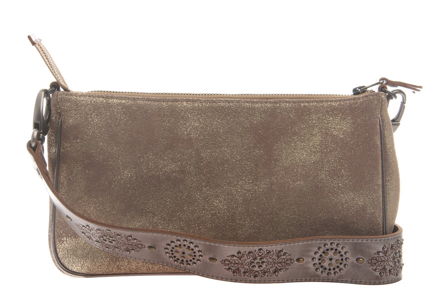 womens leather crossbody bag tulum in gold
