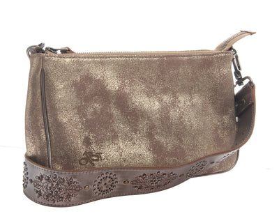 womens leather crossbody bag tulum in gold side