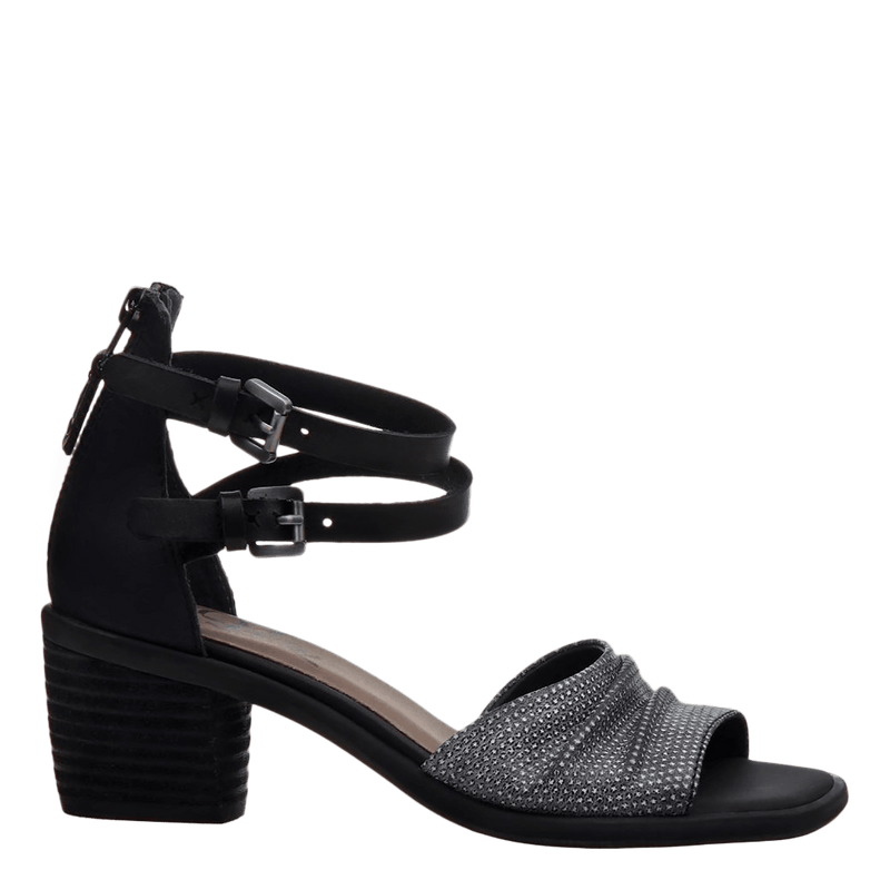 Womens heel sandal boarder in black