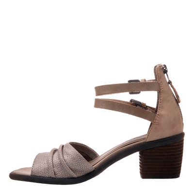 Womens heel sandal boarder in taupe inside view