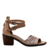 Womens heel sandal boarder in taupe side view