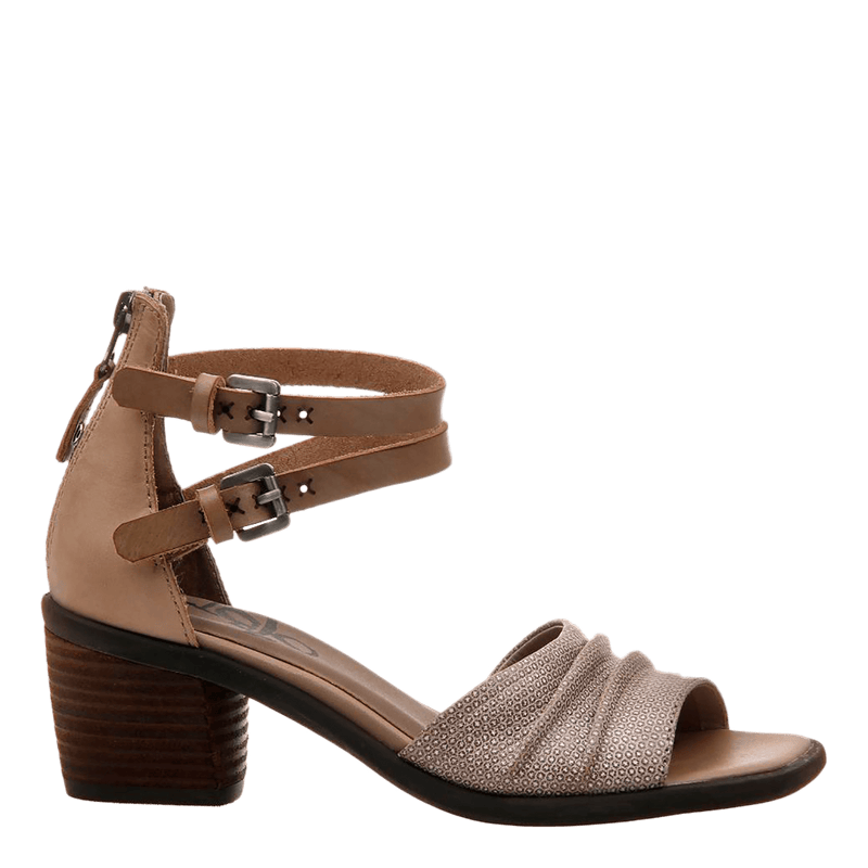 Womens heel sandal boarder in taupe