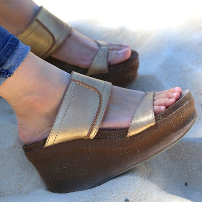 BROOKFIELD in GOLD Wedge Sandals