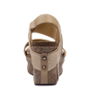 Womens wedge Bushnell in mid taupe back view