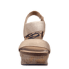 Womens wedge Bushnell in mid taupe front view
