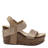 Womens wedge Bushnell in mid taupe side view