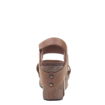 Womens wedge Bushnell in taupe back view