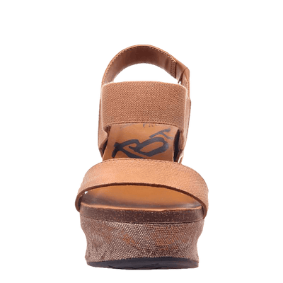 Womens wedge Bushnell in taupe front view