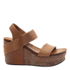 Womens wedge Bushnell in taupe side view