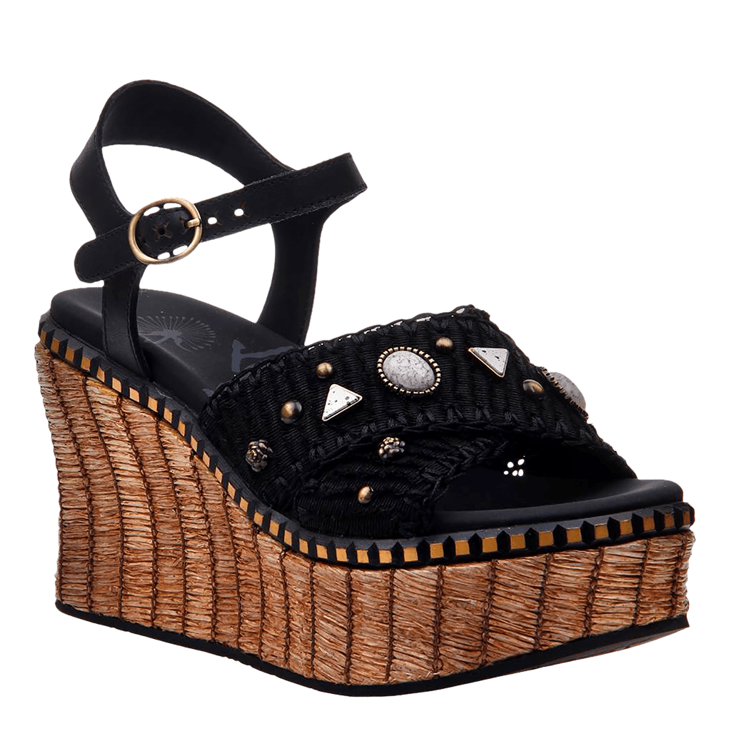 8f4e3d5bb Cahoot in Black Wedge Sandals | Women's Shoes by OTBT