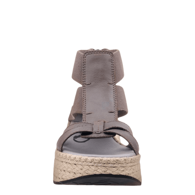 Womens Cannonball wedge sandal in zinc front view